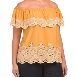 Fever Embroidered Knit Top - YELLOW
